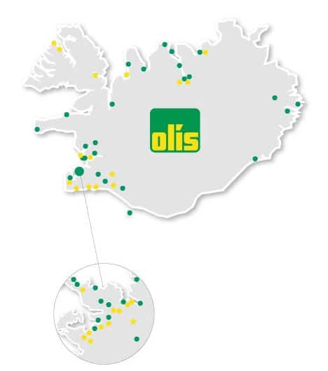 Carte stations essence Olis en Islande